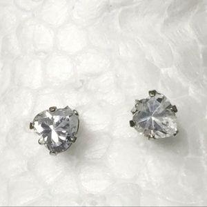 Jewelry - Sterling Silver Heart Shaped CZ STUD Earrings
